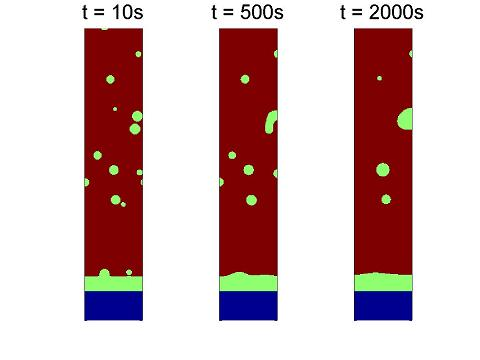 Phase field simulation of the coarsening of a Cu-Cu6Sn5-Sn(Cu) joint with Cu6Sn5-precipitates.